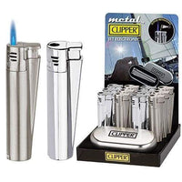 Clipper Full Metal Jet Lighter Silver W/ Case (12 Count) Flower Power Packages