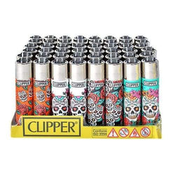 Clipper Lighter Mexican Skull Display (48 Count)