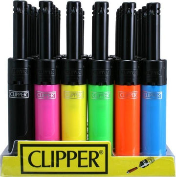 Clipper Lighter Mini Tube 6 Color Black Top Utility Lighter (24 Count Display)