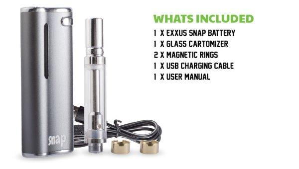 Exxus Snap VV Cartridge Vaporizer at Flower Power Packages