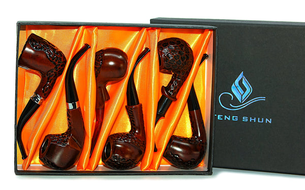 "Feng Shun Wood Pipe Set (6"")(Box of 6) Flower Power Packages"