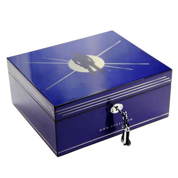 Fully Stocked Stylish Durable Blue Humidor Box Flower Power Packages