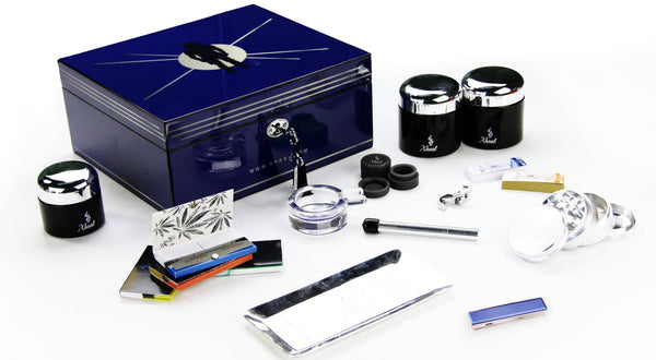 Fully Stocked Stylish Durable Blue Humidor Box Flower Power Packages HUMIDOR | BLUE