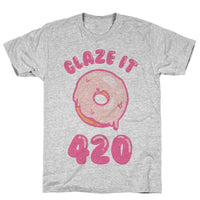 Glaze It 420 Donut Athletic Gray Unisex Cotton Tee Flower Power Packages Gray XL