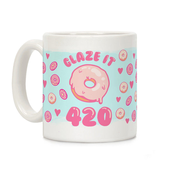 Glaze It 420 Donut Ceramic Coffee Mug by LookHUMAN Flower Power Packages 11 Ounce