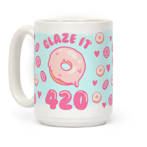 Glaze It 420 Donut Ceramic Coffee Mug by LookHUMAN Flower Power Packages 15 Ounce