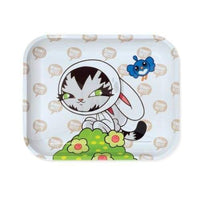 Hbi Artist Series: Persue Bunny Kitty Large Metal Tray Flower Power Packages