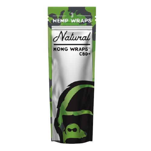 Kong Wraps Hemp Blunt Wraps - Various Flavors Available (1 Count) Flower Power Packages Natural 3 Wraps