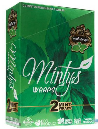 Minty Mints Herbal Wraps - Pack of 2 - Display of 25 Pack at Flower Power Packages