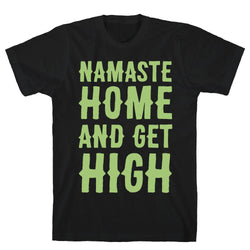 Namaste Home and Get High White Print Black Unisex Cotton