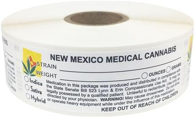 New Mexico Medical Cannabis Warning Labels at Flower Power Packages