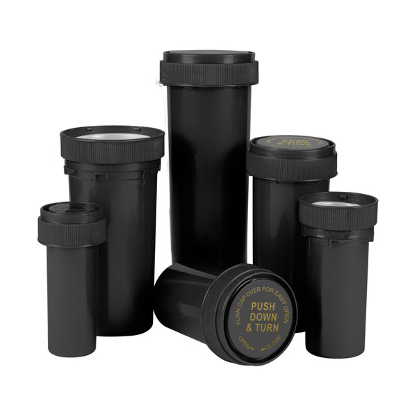 Opaque Black 8 Dram Reversible Cap Vials for Medical Pharmacies & Dispensaries at Flower Power Packages