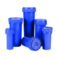Opaque Blue 20 Dram Reversible Cap Vials for Medical Pharmacies & Dispensaries at Flower Power Packages