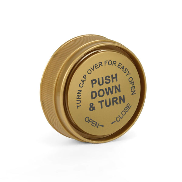 Opaque Gold 20 Dram Reversible Cap Vials for Medical Pharmacies & Dispensaries at Flower Power Packages