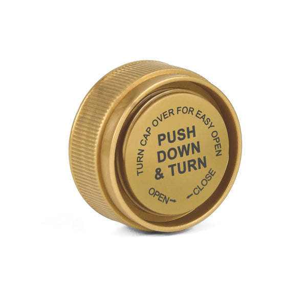 Opaque Gold 8 Dram Reversible Cap Vials for Medical Pharmacies & Dispensaries at Flower Power Packages