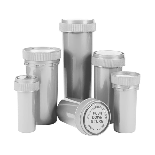 Opaque Silver  60 Dram Reversible Cap Vials 100 COUNT at Flower Power Packages