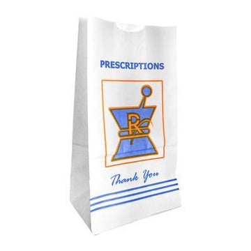 "Pharmacy Prescription Kraft Bags Large 11"" x 5.75"" - 1000 Count"