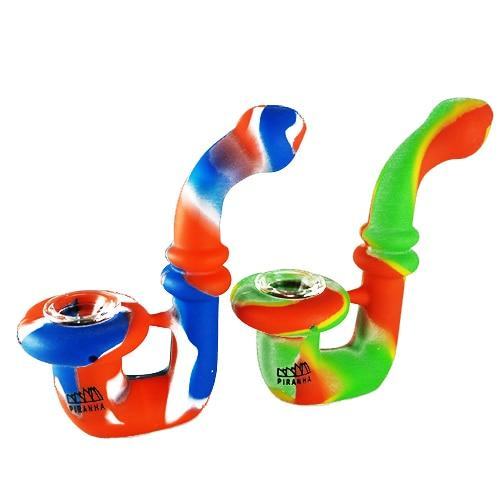 "Piranha Silicone - Hand Pipe - 5"" Sherlock w/ Glass Bowl - Assorted Colors Flower Power Packages Default"