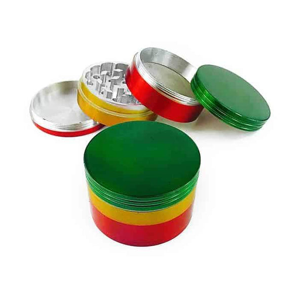 Rasta Grinder- 4 Part Grinder-1ct (Available in Multiple Sizes) Flower Power Packages 50MM