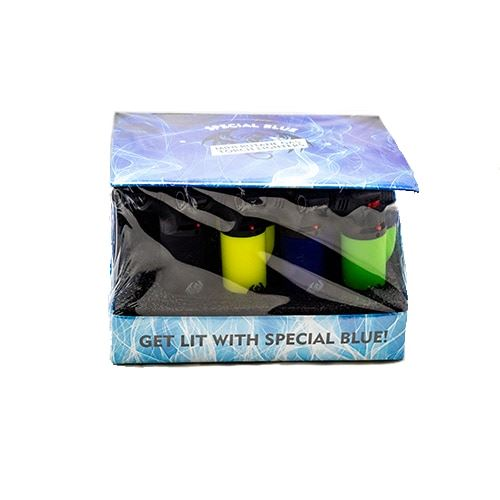 Special Blue Bernie Lighter 12pc Display - Assorted Colors Flower Power Packages Rubber