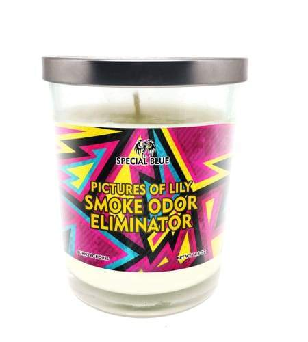 Special Blue Odor Eliminator Candle -Pictures of Lily Flower Power Packages