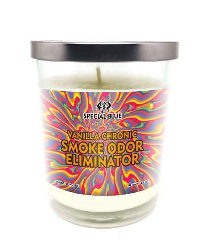 Special Blue Odor Eliminator Candle -Vanilla Chronic Flower Power Packages