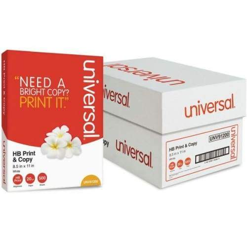 Universal Premium Copy Paper, 95 Brightness, White, 5000 Sheets/Carton Flower Power Packages