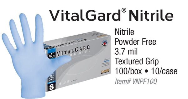 VitalGard Nitrile PF Exam Gloves (Case) at Flower Power Packages