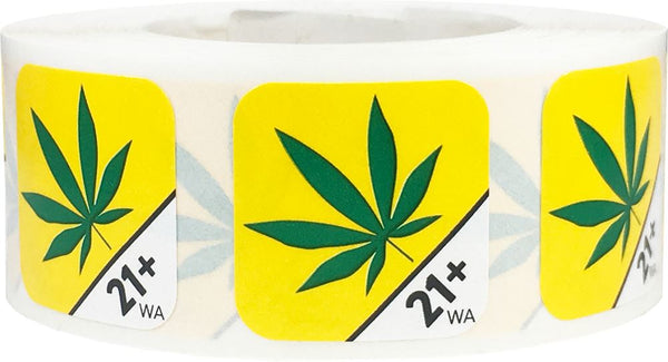 Washington Cannabis Marijuana Age 21 Plus Warning Labels at Flower Power Packages