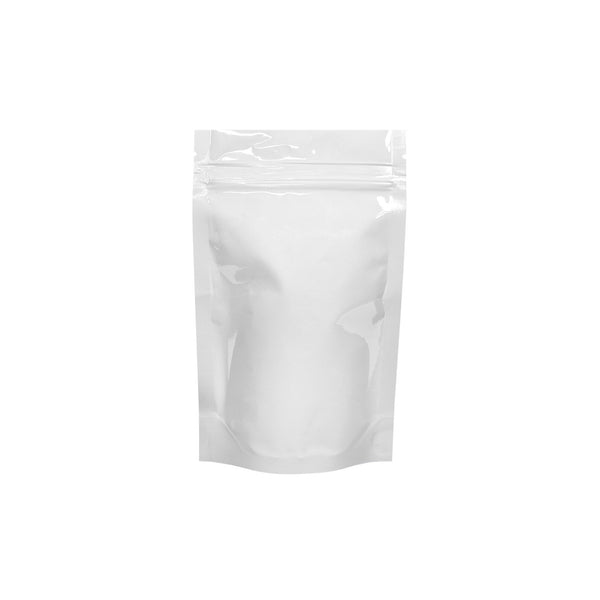 White Mylar Bag Tear Notch Clear Back 1/8oz 1000 COUNT at Flower Power Packages