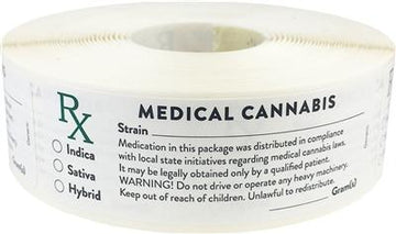 Writable Generic Medical Warning Cannabis Labels 500 Roll