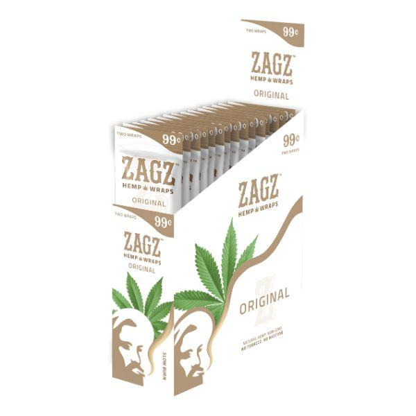 ZAGZ Hemp Wraps Original 25 Packs Per Box 2 Wraps Per Pack - (1 Count) Flower Power Packages