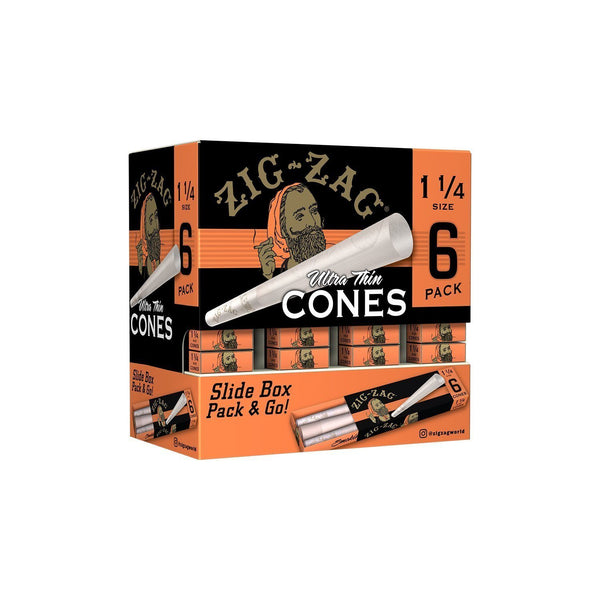 Zig Zag Promo Display (36 Pack Per Display) 6 Cones Per pack - 1 1/4 Cones (1 Count) Flower Power Packages