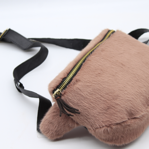 Fuzzy Fanny Pack Dusty Rose