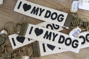 Canvas Key Fob I love my dog