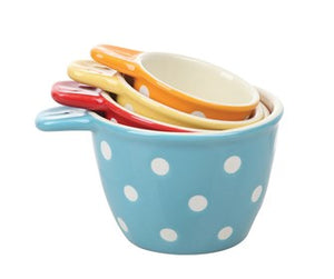 Ceramic Measuring Cups With Polka Dots, Set of 4