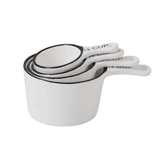 Measuring Cups White With Black Rim