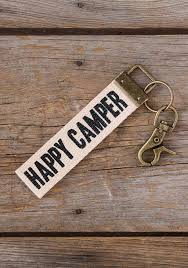 Canvas Key Fob Happy Camper