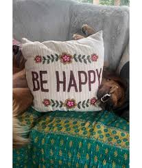 Embroidered Throw Pillow Be Happy