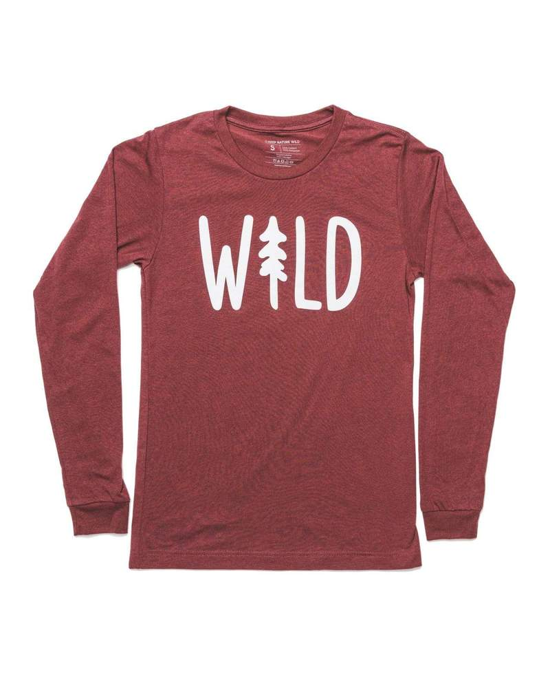 Wild Pine Unisex Long Sleeve Heather Cardinal- L