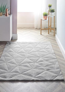 3D Triangle Collection Grey luxurious rug