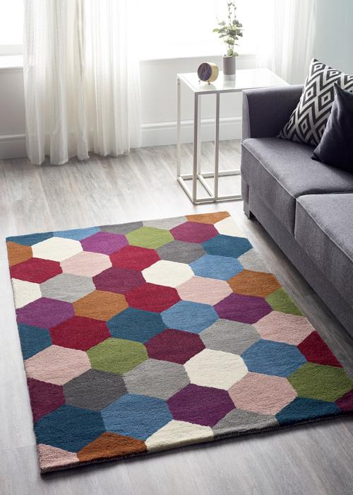 Hexagon Collection Multi luxurious rug
