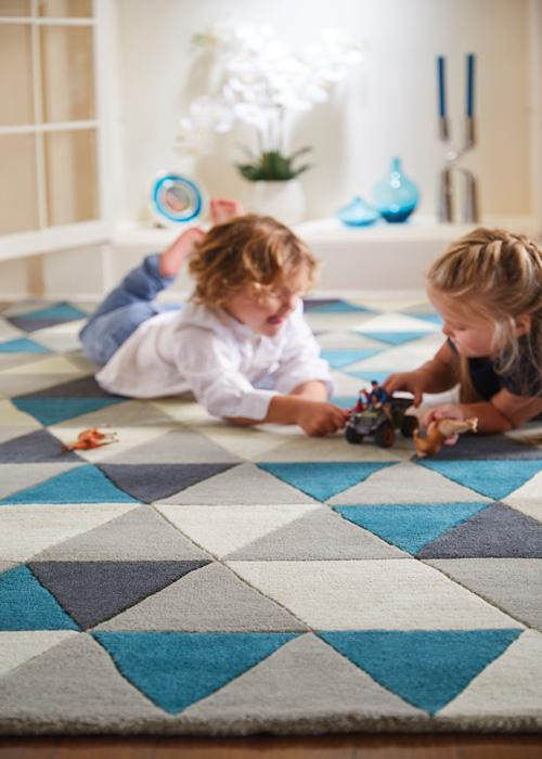 Honeycomb Collection Blue luxurious rug