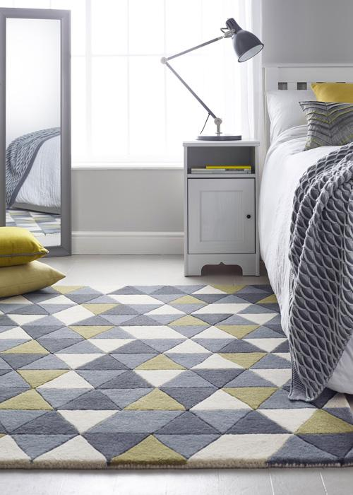 Honeycomb Collection Ochre luxurious rug