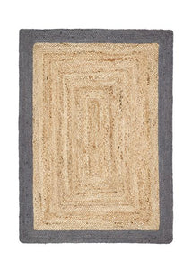 Jute Border Collection Grey luxurious rug