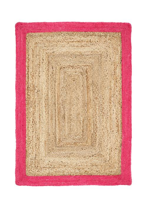 Jute Border Collection Raspberry luxurious rug