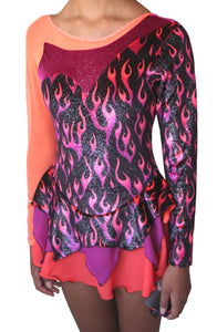 Figure skating dress flames - Small & 12-14y.
