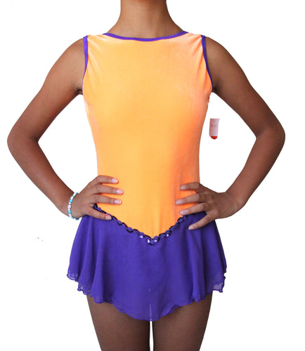 Figure skating dress, orange velvet