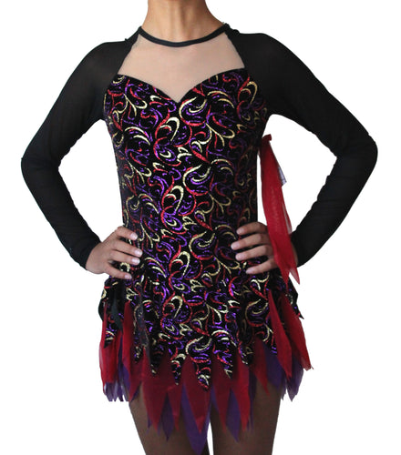 Figure skating dress, black glitter velvet