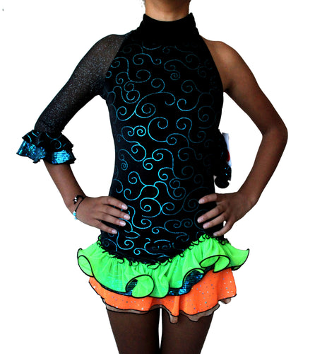 SOLD - Samba figure skating dress, black glitter velvet